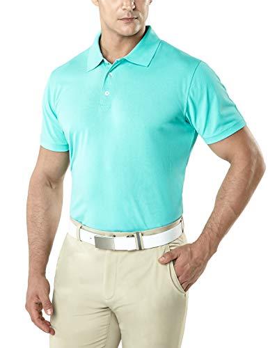 TSLA Men's Dri Flex Tech Polo Premium Active Fit Solid Top Shirt, Basic Pique Polo(mtk10) - Mint, 3X-Large