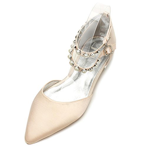 L@YC Womens Wedding Shoes 5047-11 Pearls Flache Schuhe Schnalle Satin Abend Bridal Party Court/Multi-Color-Anpassung Champagne