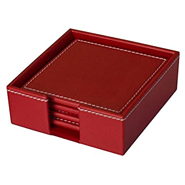 Dacasso Colors Faux Leather 4 Coaster Set with Holder, Rossa Red