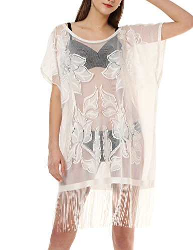 Swimsuit for Women Cover Up Bathing Suit Summer Beach Wear Dress with Tassel White