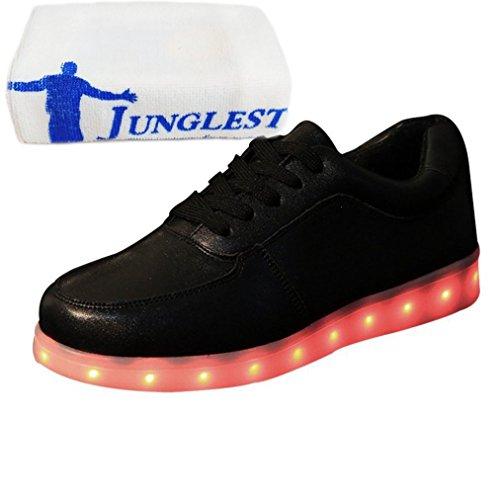 (Present:kleines Handtuch)JUNGLEST® Leuchtende LED Schuhe Sneaker Schwarz