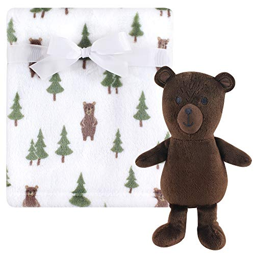 Hudson Baby Unisex Baby Plush Blanket with Toy, Forest Bear 2 Piece, One Size
