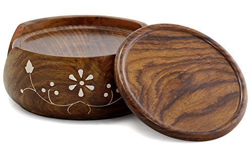 Coaster Set & Holder - Handmade Wood 6 Round Table Coasters and Wooden Holder - Table Top Accessories