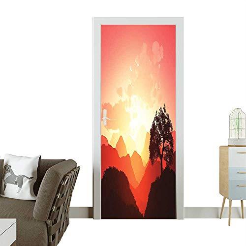 - 3D Door Decals Magical Oriental Sunset View Mounta Mystique Hills Rays Dark Image Self Adhesive Door DecalW38.5 x H77 INCH