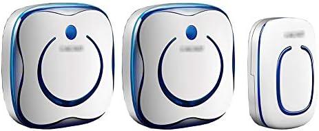ウォールプラグインコードレスドアチャイム、ミニインテリジェントドアベルチャイム(1つのボタンと2つのレシーバー付き)防水ドアベルキット36音楽と4速ボリュームフラッシュ