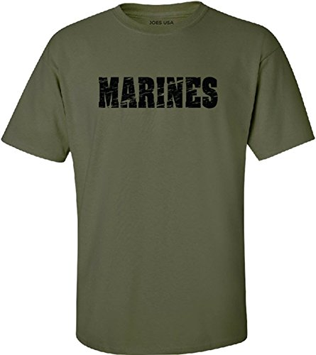 Joe's USA - Military Green Vintage Marines Logo T-Shirts in Sizes S-5XL
