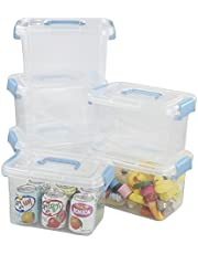 Sosody 5 L Plastic Clear Storage Boxes, Plastic Storage Containers, 6 Packs