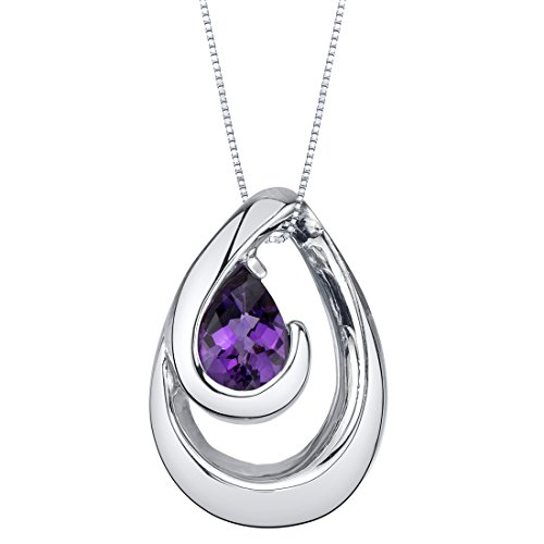 Sterling Pendant Wave Silver - Amethyst Sterling Silver Wave Pendant Necklace
