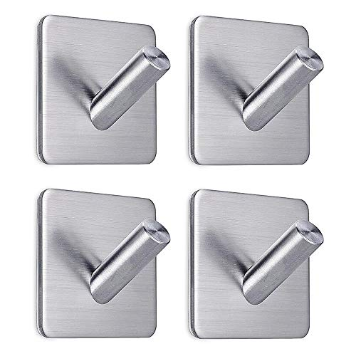 FOTYRIG Adhesive Hooks Heavy Duty Wall Hooks Hanger Stainless Steel Towel Hooks Stick On Home Bathroom Kitchen for Loofah, Dog Leash, Umbrellas, Scarves, Towels, Robes, Coats, Keys, Calendars-4 Packs
