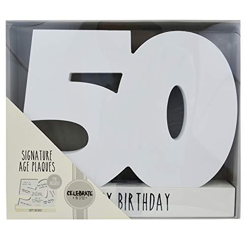 Ace Birthdays - Accesorio decorativo para recordar cumpleaños (madera, apto para escribir encima), diseño de número 50