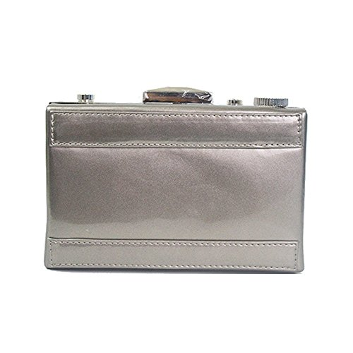 Bag Leather Bag Dress Color WUHX Solid Luxury Square Patent Diagonal Party Bag Clutch Bag Cross Small Evening Shoulder Fashion Bag Chain Women's Camera Luxury Personality Grey Dinner g8Yg4qa