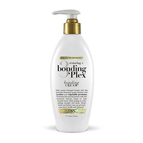 Blonding Gels - OGX Restoring + Bonding Plex Salon Technology Bonding Cream Leave-in Treatment, 6 Ounce