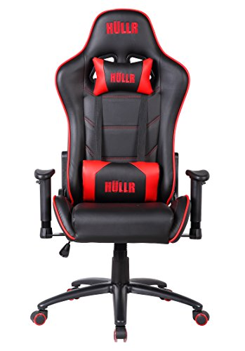 Hullr Gaming Racing Computer Office Chair  Executive High Back Gt Ergonomic Reclining Design With Detachable Lumbar Backrest   Headrest  Pc Ps4 Xbox Laptop   Black Red