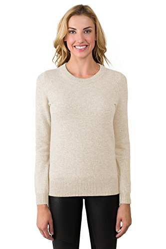 Sweater Beige Cashmere (JENNIE LIU Women's 100% Pure Cashmere Long Sleeve Crew Neck Sweater (PL, Oatmeal£)
