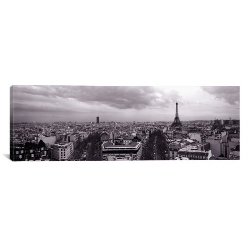 Icanvasart Eiffel Tower Paris  France By Panoramic Images Canvas Art Print  36 By 12 Inch