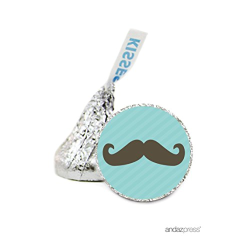 Andaz Press Chocolate Drop Labels Stickers Single, Baby Shower, Boy Mustache, 216-Pack, For Hershey's Kisses Party Favors, Gifts, Decorations, Birthday (Mustache Baby Shower Supplies)