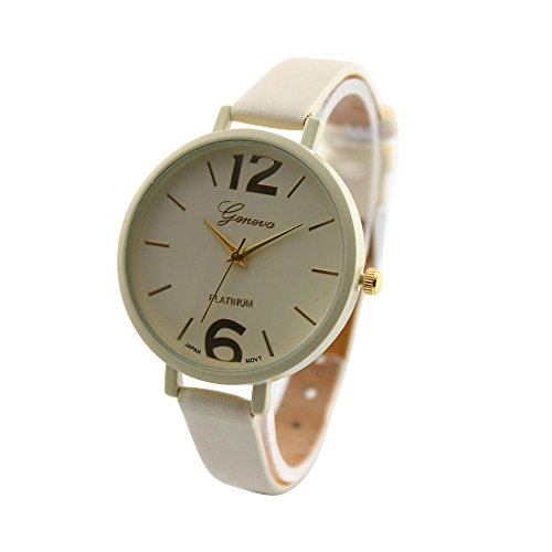 start-women-faux-thin-leather-band-net-color-elegant-wrist-watch-beige