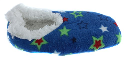 TruFit Womens Celestial Stars Sherpa Fleece Lined Booties Light Blue Red V8viv