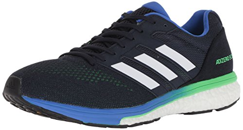 adidas Men's Adizero Boston 7 Running Shoe, legend ink/shock lime/hi-res blue, 11 M - Res Hi Lighter
