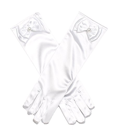 Shiny Toddler Girls Princess Dress-Up Glove,White -