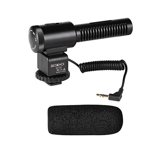 Shotgun Camera Microphone, Beschoi Professional Photography Interview Mic Recording Compatible with Nikon/Canon Camera/DV Camcorder (Need 3.5mm Interface)