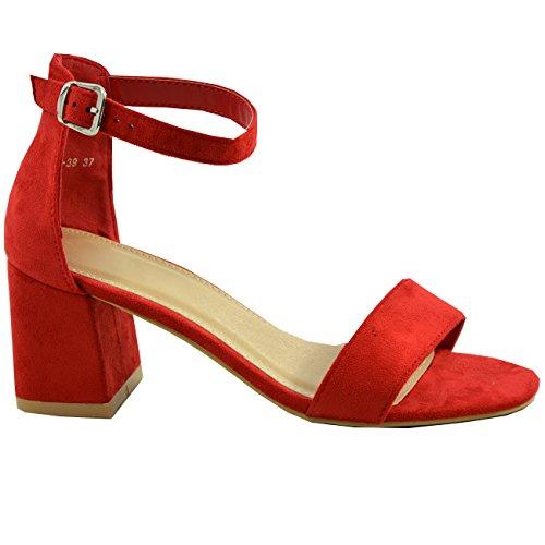 Cucu Fashion New Womens Ladies Mid Block Heel Ankle Strap Peep Toe Shoes Sandals Sizes Red 6KE4pb9pg