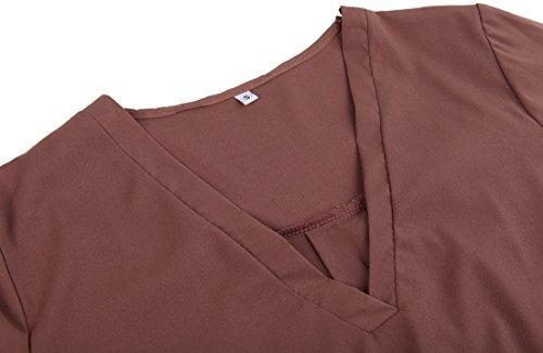 U-shot Ladies 'V cuello irregular camiseta Casual Business de cóctel vestido de Swing marrón