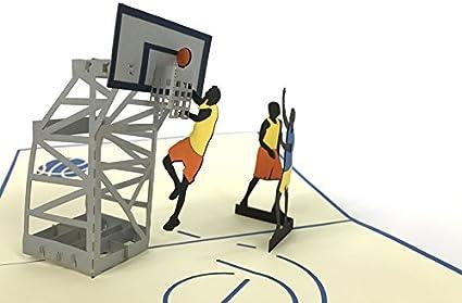 Tarjeta de felicitación 3D de campo de baloncesto, hecha a mano ...