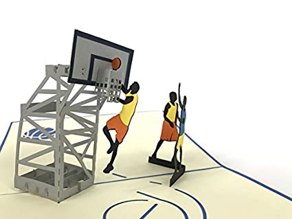 Tarjeta de felicitación 3D de campo de baloncesto, hecha a ...