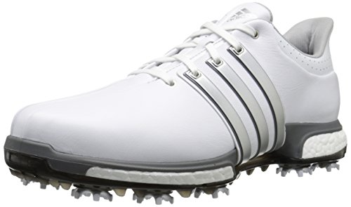 adidas Golf Men's Tour360 Boost Spiked Shoe,White/Silver/Dk Silver,11.5 2E US
