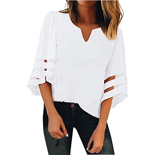Women's Casual V Neck Blouse Mesh Panel 3/4 Bell Sleeve Summer Loose Shirts Solid Color Tees Tops Wild Pullover SIN+MON White ()