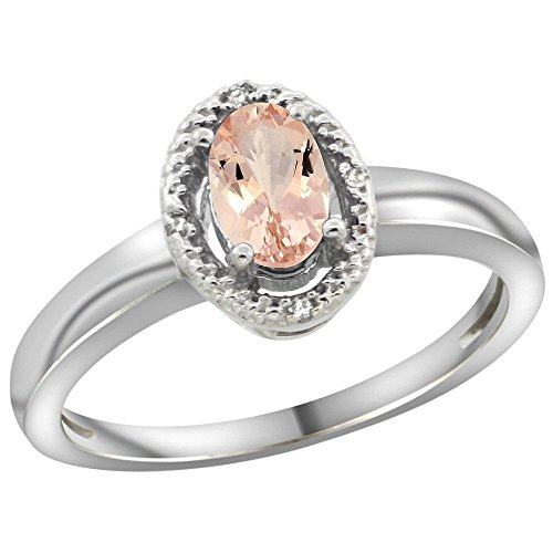 Sterling Silver Diamond Natural Morganite