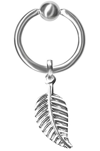 Dangle Leaf Captive Bead Ring-20g-5/16 inch-8mm-Ear Piercing Hoop Body - Ring Jeweled Captive