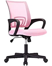 Computer Chair Gaming Chair Computer Desk Chaise Gaming Computer Game Chair E-Sport Chair with Lumbar Support (Black/Pink)