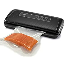 """Ronegye Vacuum Sealer Machine Vacuum Sealing System Sous Vide Cooking Accessory with Starter Kit Fits Up to 12"""" width Gallon Seal Bags and Rolls for Foods Savers, Black"""