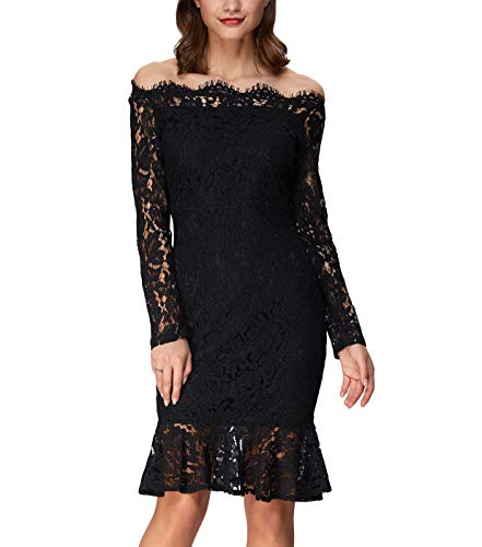 Ladies Floral Lace Mermaid Dress for Wedding XXL Black 1 from GRACE KARIN