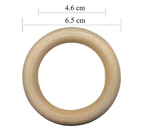 Ring Pendant and Connectors Jewelry Making DIY Projects 6.5cm Efivs Arts 30pcs Natural Wood Rings for Craft