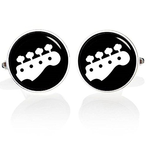 Kooer Piano Drum Saxophone Bass Guitar Trumpet Cufflinks Custom Personalized Instrument Cuff Links (Bass) (Bass Sets Saxophone)
