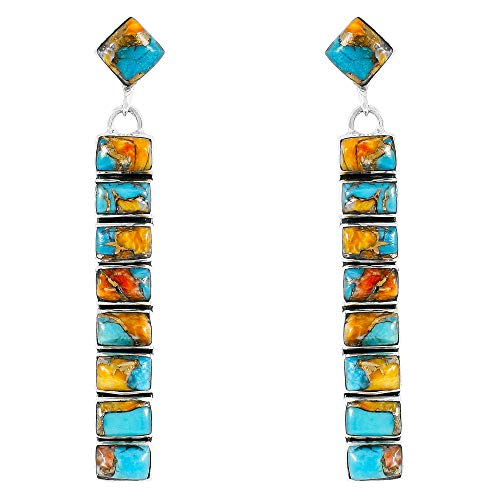 Turquoise Earrings 925 Sterling Silver & Genuine Turquoise (Choose Color) (Spiny Turquoise)