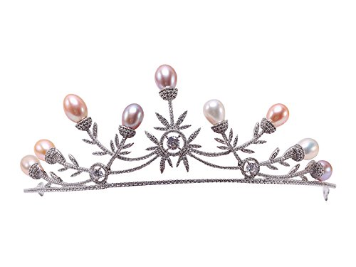 Natural White/Pink/Lavender Oval Freshwater Pearl Crown Tiara Bridal Hair Tiara Birthday Party Crown by JYX Pearl