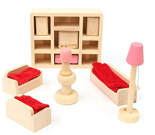 Glamorway Baby Kids Play Pretend Toy Design Wooden Doll Furniture Dollhouse Miniature Toy Children Gifts for Lounge Room