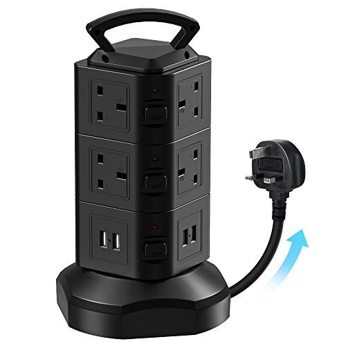 bedee Extension Lead Plug Tower with 10 Way Sockets, 4 USB Slots, Vertical Multi Plug Power Strips with 2M Extension Cord, Surge Protector & Individual Switches for Office Home Kitchen Bedroom, Black
