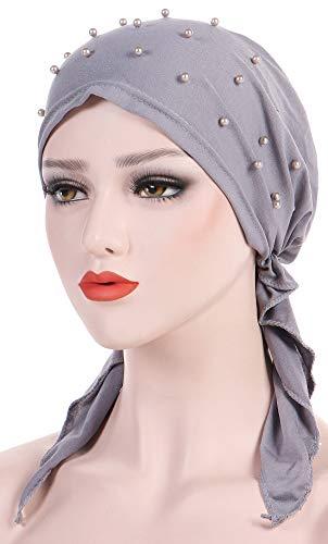 Ababalaya Women's Soft Breathable Pre-Tied Beads Solid Chemo Bandana Muslim Turban Tichel,Black+White+Gray by Ababalaya (Image #2)