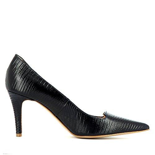 Jessica Femme Evita Atqw43g Cuir Escarpins Bleu Gaufré Foncé Shoes wR11x