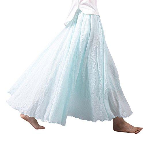 (Nicetage Women Summer High Waist Pleated Big Hem Full/Ankle Length Beach Maxi Skirt (Water Blue))