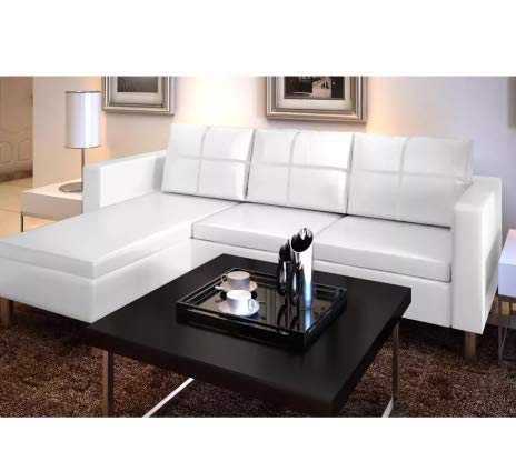 Amazon.com: Sectional Sofa 3-Seater Artificial Leather White ...