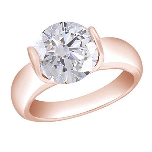 1.50 Carat Round Cut Moissanite Solitaire Ring In 14K Rose Gold Over Sterling Silver by Jewel Zone US
