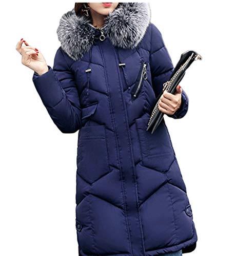 Winter Long Blue Down EKU Womens Fur Thickened Hooded Jacket Coat EpEA7qan