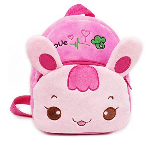 Smilesky Kid's Backpack Toddlers Preschool Shoulder Bags Cartoon Plush Animal Bunny Bags Pink 9.5