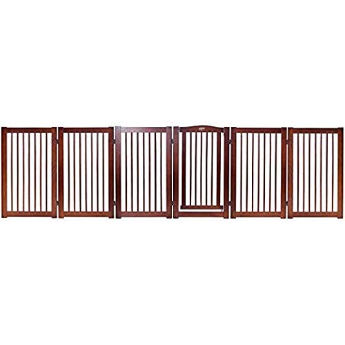 PETSJOY 36''H Configurable Folding Free Standing Panel, Wood Pet Dog Safety Fence, Wide Barrier Gate with Walk-Through Door in 2 Directions, Add/Decrease Panels Directly 133'' W by PETSJOY (Image #4)